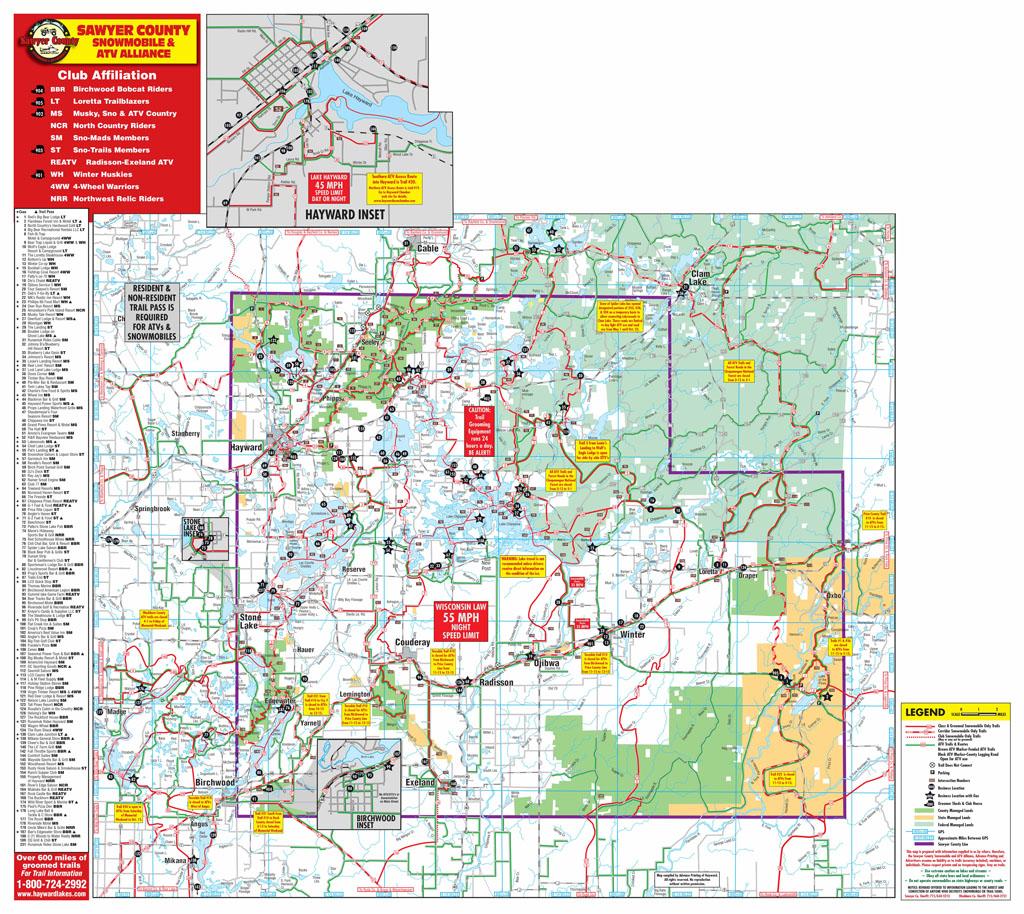 Sawyer County Snowmobile ATV Trail Maps Sawyer County Snowmobiling